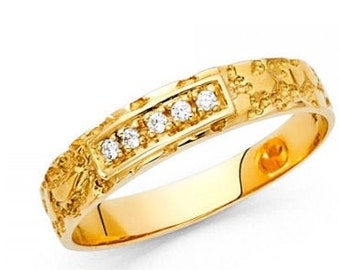 0.75 Ct Created Diamond  14K Solid Gold Mens Wedding Ring Nugget Solitaire Round Cut  Engagement Bands