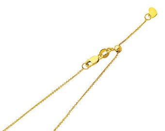 """0.90 mm Adjustable Rolo Cable Chain 14K Solid Yellow or White Gold in  20"""" Inches"""