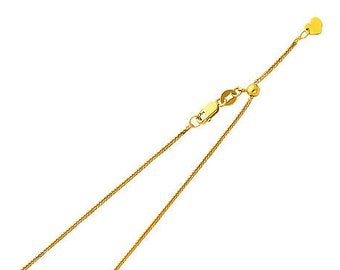 """0.70 mm Adjustable Square Wheat  Chain 14K Solid Yellow or White Gold in  20"""" Inches"""