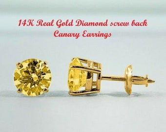 Canary 1.00 Ctw - 4.00 Ctw • Brilliant Cut • Solitaire • 14K Solid White or Yellow Gold Earring  • With Diamond Secure Backing