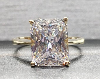 1.00 - 3.00 CTW. 14K Solid Gold Ring  Simulated Diamond  Brilliant Cut Radiant Cut Shape Engagement Rings Fine Jewelry