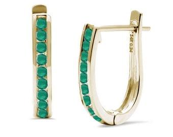 14K Yellow Gold Genuine Real Gemstones J Hoops Earring sold 1 pair with Natural Gemstones .