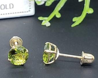 Green Gemstone Earrings Silver Hoop Earrings Drop Hoops,peridot loop earring,circel earring,dainty hoop Sterling Silver Peridot Earrings