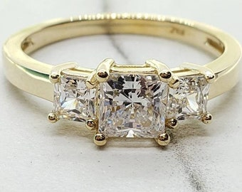 1.50 Ct 14K Solid Gold Princess 3 Stones Wedding Engagement Bridal Promise Ring