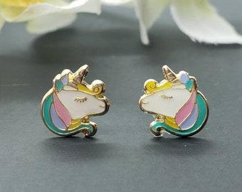 14K Solid Gold • Unicorn Head Enamel Resin Unicorn• Screw Backs • Cute Flat Earrings • Girls / Kids Earrings