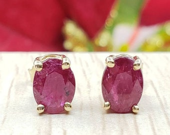 Genuine Real Natural Ruby • 2.00 Carat Oval 5.00x7.00mm • Push Back •  14K Yellow GOLD •  Women's May Birthstone  Earrings •