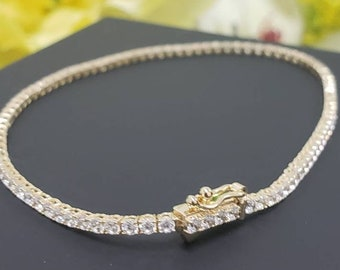 """14K Real Gold Dainty Tennis Bracelet Triple A + Stones in 7.25 """"   3 sizes now is available"""