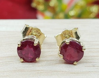 Genuine Real Natural Red Ruby  •1.50 Carat Round Shape 5.00mm • Push Back •  14K Yellow GOLD •  Women's July Birthstone  Earrings •