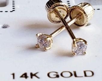 Minimalist • 2MM Dainty Smallest Stones in Solid 14K GOLD •  Tragus , Cartiladge ,Ear Lobes ,Baby, Kids Earrings • Hypoallergenic •