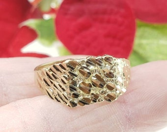 10K Yellow GOLD 10mm x 12 mm Dainty Cute Square Nugget Ring  Mens & Women's