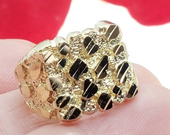 Pinky 14 mm x 14 mm Medium Mens  10K Yellow GOLD Square Nugget Ring  Size 8- 13