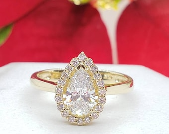 1.50 Ctw  Created Diamond Pear Shape Halo  Engagement Ring 14K Solid Gold