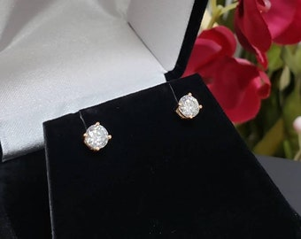 14K Solid Gold Moissanite •  Solitaire Round Heavy Basket 4 Prong • Push Backing Stud Earrings • Birthday Gift. Piercing, Girl, Graduation