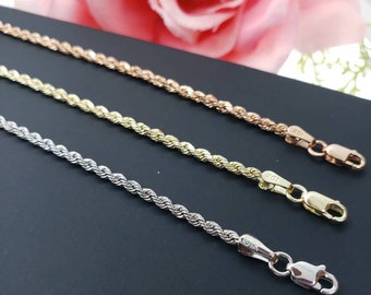 """Anklet 10K Real Gold Italian 2.00 mm  Rope Chain Link Anklet 10"""" inches"""