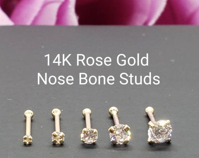 14K Solid Rose Gold , Ball Ends Nose Stud, Diamond Nose Stud,  Nostril Piercing , Nose Ring , Nose Studs Stones. 1.00 mm - 3.00 mm