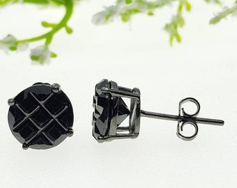 5mm-10mm Round Black Rhodium Plated Segment CZ Solid 925 Sterling Silver Solitaire Stud Post Earrings Round Mens Womens Earrings
