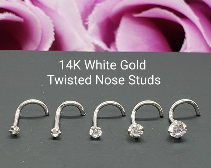 14K Solid White Gold , Curve Bar Nose Stud, Diamond Nose Stud, Twist Micro Nose, Screw Nose Stud