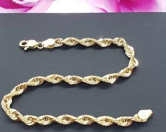 "10K Real Yellow Gold  3.00 mm  Hollow Rope Chain Length   8""  9""  Women's Men's Bracelet"
