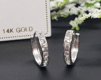 14K Solid White Gold • 10-15 MM  Huggie Hoop Earrings • CZ Ear Cuff, Pave Hoops, Pierced Ear Cuff Ear Wrap • Girls Earrings