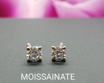 Solitaire Round Moissanite • 14K White, Yellow Gold • Push Backing Stud Earrings • Birthday Gift. Piercing, Baby, Kids ,Girl, Graduation