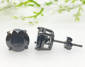 2mm-8mm Round Black Onyx CZ's Black Plated Solid 925 Sterling Silver Solitaire Stud Post Earrings Round Mens Womens Earrings