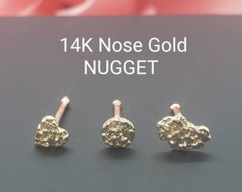 NUGGET 14K Solid Yellow Gold , Nugget Bar Nose Stud,  3 different style Nose Stud, Ball end Nose Stud Piercing .