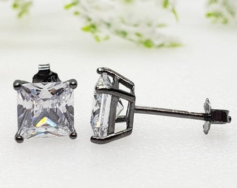 3mm-10mm Square Princess Cut Black Rhodium Solid 925 Sterling Silver Stud Post Earrings For Men's Women's