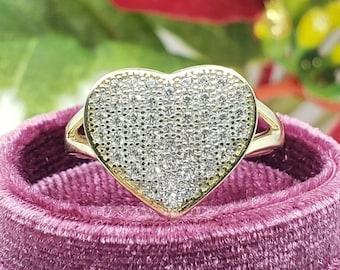 10K Solid Yellow Gold Heart Micropave Stone Ring  Solid Real Gold For Women's Girl