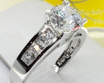1.75 Created Diamond 14K Real Solid Gold Round 4 Prong Princess Channel Set Engagement Ring