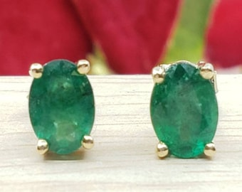 Genuine Real Natural Emerald • 2.00 Carat Oval 5.00x7.00mm • Push Back •  14K Yellow GOLD •  Women's May Birthstone  Earrings •