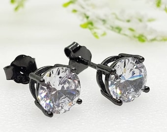 2mm-8mm Round Black Plated Diamond Clear CZ Solid 925 Sterling Silver Solitaire Stud Post Earrings Round Mens Womens Earrings