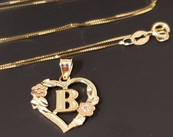 14K Solid Gold Pendant Heart Flower Initial Letter Charm A-Z Necklace With Or Without Box Chain , Graduation/Bridesmaids/Birthday/Wedding