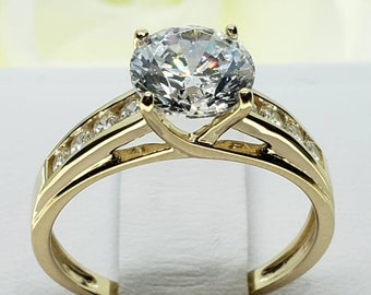 2.50 Ct 14K Solid Gold Trellis Round Engagement Wedding Propose Promise Ring