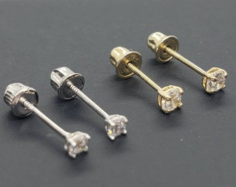 Dainty Genuine Real Natural Diamond • 2mm 2.50 mm 3.00 mm • Screw Back •  Solid 14K GOLD •  Tragus ,Cartiladge ,Baby, Kids Earrings •