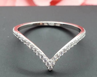 14K Real Gold  Dainty V Shape Stones Fashion Rings , Graduation/Bridesmaids/Birthday/Wedding/Shower ,
