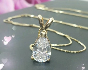 """14K SOLID GOLD •  Tear Drop Pear Cut Solitaire Simulated Diamond or Moissanite  • Pendant With 18"""" Inches Necklace •"""