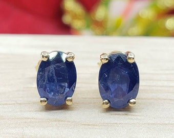 Genuine Real Natural Blue Sapphire • 2.00 Carat Oval 5.00x7.00mm • Push Back •  14K Yellow GOLD •  Women's May Birthstone  Earrings •