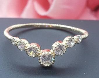 14K Real Yellow Gold  Dainty Bevel Round Stones Fashion Rings , Graduation/Bridesmaids/Birthday/Wedding/Shower ,