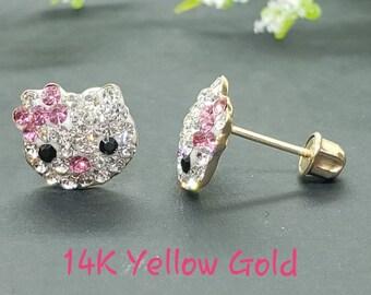 14K Solid Gold • Kitty Cat Head Earring Crystal  • Meow Cat Lover Earrings • Screw Backs • Cute Crystal Earrings • Girls / Kids Earrings