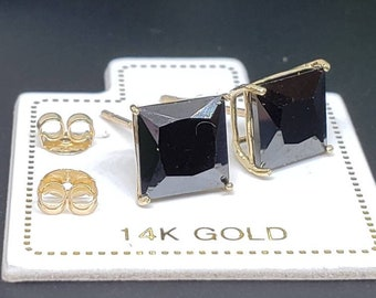 14K Solid Gold Princess Square Cut Black Onyx Push Backing Earring with 4 Prong 3 mm - 8 mm