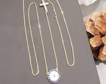 14K SOLID GOLD •Evil Eye With Cross Blue Sapphire 0.50 CTW Created Diamond Dainty Chain Necklace • Adjustable Chain