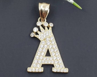 10K Solid Gold Pendant Crown Initial Letter Charm A-Z  with Cubic Zirconia Stones , Graduation/Bridesmaids/Birthday/Wedding/Shower ,