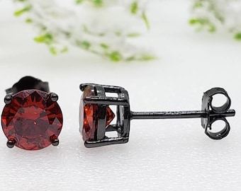 2mm-8mm Round Black Rhodium Plated Garnet CZ Solid 925 Sterling Silver Solitaire Stud Post Earrings Round Mens Womens Earrings