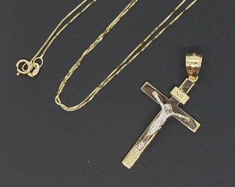 """14K Solid Yellow Gold Crucifix Cross Pendant  INRI Jesus Christ Polished Charm Pendant with or Without Box Chain 16 """" 18"""" 20 """" 22 """""""