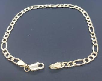"""3.50 MM 14K Real Gold  Italian Figaro Chain Link Bracelet Men's Women's  7"""" 7.5"""" 8"""" 8.5"""" 9"""""""