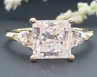 2.00  Ct 14K Solid Gold Princess Trillion Engagement Wedding Propose Promise Ring