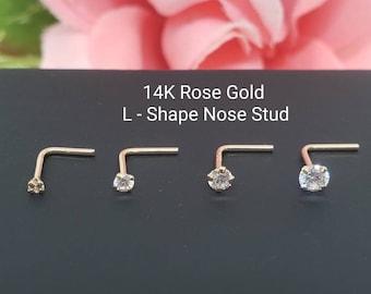 14K Solid Rose Gold , L-Shape Bar Nose Stud, Diamond Nose Stud,  Micro Nose, Screw Nose Stud, Body Jewelry Real Gold