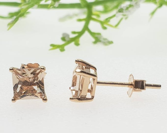 3mm-10mm Round Rose Plated Morganite CZ Solid 925 Sterling Silver Princess Squre Stud Post Earrings Round Mens Womens Earrings