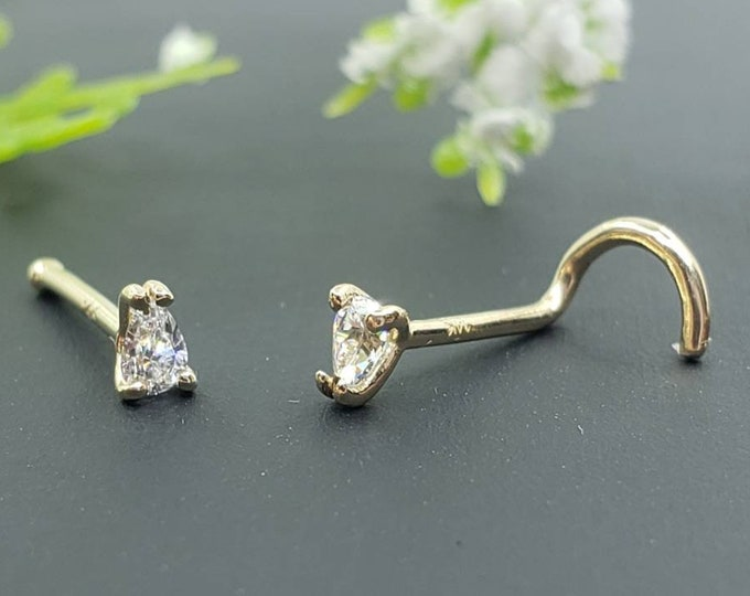 14K Solid Gold , Pear Shape Nose Stud, Tear Drop CZ  Diamond Nose Stud,  Nostril Piercing  Twisted End or Ball End 20GA