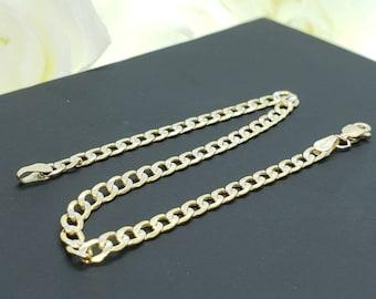 """14K Real Yellow Gold White Pave Diamond Cut Cuban Chain 3.20 MM Length  7"""" -9"""" Bracelet Women's Men's"""